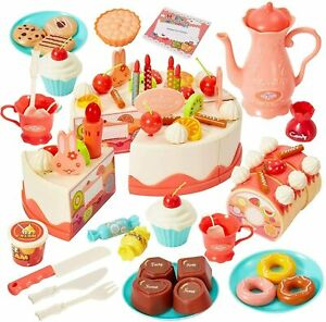 83 pcs DIY Make Your Own Birthday Cake Toy for Kids with Musical Candle