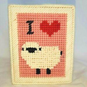 Hand Made I LOVE SHEEP Plastic Canvas Square TISSUE BOX COVER Yarn Farmhouse