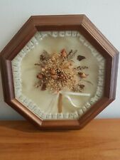 Vintage Framed Octagonal Raised Dried Flower Picture Cottagecore Style