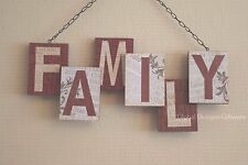 Shabby Chic Family 3d Wall Plaque Sign Blocks Brown Cream Wooden 32cm Sg1452
