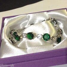 "GB Green r'nd emerald sim diamond 7"" silver bracelet (white gold gf) PlumUK BOXD"