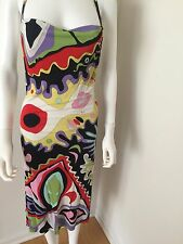 Emilio Pucci Black White Red Abstract Print Cowl Neck Halter Dress SZ 6