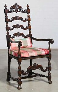 Early 20th Century Continental Baroque Style Carved Mahogany Armchair