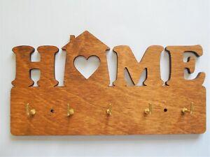 Home key holder wooden - 5 hooks gift new home birthday wedding engagement