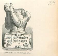 Statue Chevalier sans Tête d'Hastimoulin/Asty-Moulin GRAVURE ANTIQUE PRINT 1880
