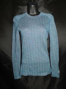 Smartwool S Blue Purple Merino 250 Base Layer Shirt Pattern Crew Neck Womens Sm