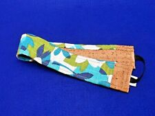 New Sustainable Cork Fabric Headband /Sweatband -CoolCorC -Blue/Green Mod Fabric