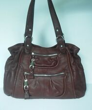 B. Makowsky Large Leather Tote Bag Brown/Red Leopard Lining