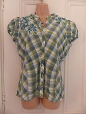 Rocha John Rocha size 14 white blouse green and blue check, floral embroidery