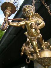 Magnificent & antique French 3 lt cherub - putti  chandelier. Look at this 1 !