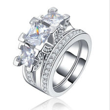 2pec/set Women 925 Silver Rings Princess Cut White Sapphire Wedding Rings Size 8