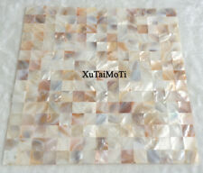 11Pcs square bathroom tile kitchen backsplash groutless pink yellow shell mosaic