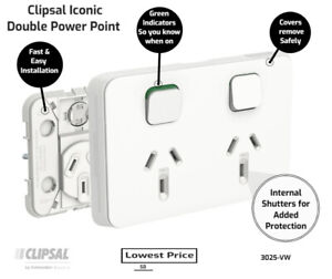 Clipsal by Schneider Electric  Clipsal Iconic 3025-VW | Double Power Point GPO 1