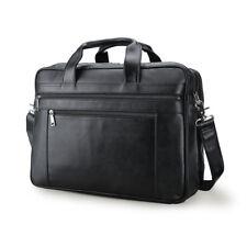 Men's Leather 17'' Laptop Briefcase Shoulder Bag Trolley Holder Travel Handbag