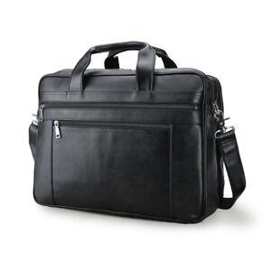 Men Leather 17'' Laptop Bag Briefcase Shoulder Bag Trolley Holder Travel Handbag