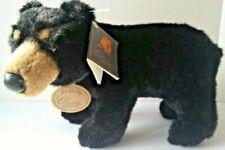 """Vintage 1996 Classic Aurora Soft n Cuddly Black Bear Plush Hand Crafted 13"""" x 9"""""""