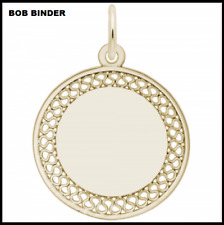 REMBRANDT STYLE 8468 GOLD PLATED SMALL FILIGREE ENGRAVABLE DISC CHARM