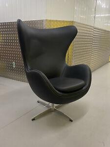 Arne Jacobsen AJ Egg Chair, Real black leather, Swivel Pod Designer Retro Funky