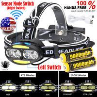 Rechargeable 4T6+2COB LED Motion Sensor Headlamp USB 18650 Head Light Flashlight