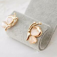 Gold Plated Butterfly Opal Stone White Earrings Ear Stud