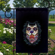 Sugar Skull Pitbull Dog New Black Small Garden Flag Day of the Dead