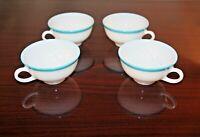 Set of 4 Vintage Pyrex Milk Glass Cups Turquoise Rim Excellent