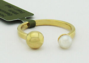 ADJUSTABLE PEARL & GOLD BALL RING 14K YELLOW GOLD * New With Tag *