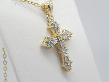 14K Yellow Gold 24 Baguette Round Diamond Necklace Cross Pendant 1 CT 32 x 18mm