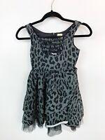 HARAJUKU Mini For Target Girls Dress Animal Cheetah Print Tulle Ruffle Gray 7/8
