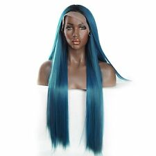 VNice Mixed Blue and Green Synthetic Lace Front Wig Silky Straight Lace Front 20