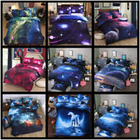 Galaxy Comforter Duvet Cover Flat Sheet Reversible Quilt Outer Space Bedding Set
