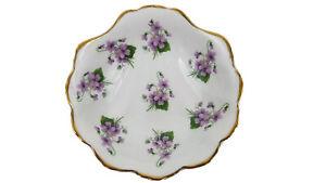 "Vintage Royal Victoria 5"" Violets Dish Bowl Fine Bone China England Q3"