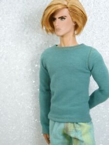 PJ Pants & Teal Green Crew Neck Top Handmade by KK Fits FR Homme