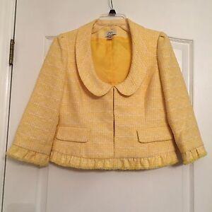 Ann Taylor Loft Woman's Lined Blazer with Fringe Trim - Yellow/White Size 6 NWOT