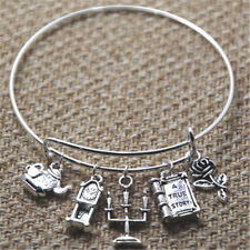 Beauty and the Beast inspired bracelet silver tone rose tea pot charm bangles