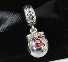 Authentic Pandora S925 charm Christmas ornament silver dangle red enl 791768EN07