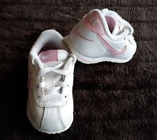Nike Cortez Baby Girl 5C White Light Pink Tennis Shoes Lace Up 316815-161 Swoosh