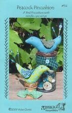 Peacock Pincushion + Pin Kit, Bird's Nest, Wood Base - Pattern by Vickie Clontz