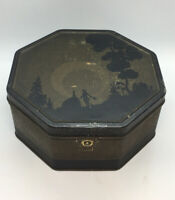 Vintage Or Antique RARE NABISCO Biscuit Cookie Company Octagon SILHOUETTE Tin