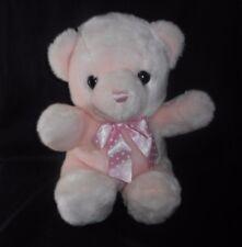 "14"" BIG AURORA BABY PINK TEDDY BEAR POLKA DOT BOW STUFFED ANIMAL PLUSH TOY SOFT"
