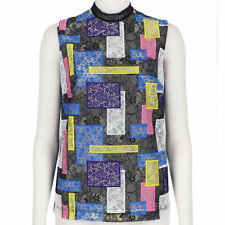 Christopher Kane Black Multicoloured Patchwork Lace Sleeveless Top UK6 IT38