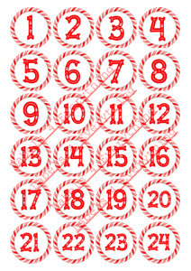 Christmas Numbers Advent Calendar Round Stickers Gifts Presents Chocolate Coins