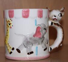 Vintage Childs Circus Carrousel Mug~Zebra, Giraffe, Elephant design~Ivory & Pink