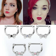 Hanging Nose Ring Big Color CZ Crystal Bow Septum Clicker 16G Closure Bar 5/16""