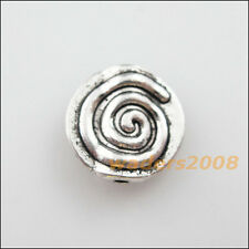 10 New Charms Tibetan Silver Tone Rotating Round Flat Spacer Beads 12mm