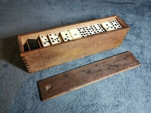 Vintage Dominoes In Orginal Wooden Box With Sliding Lid