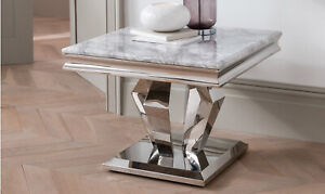 New Allure Grey Marble & Chrome Lamp Table