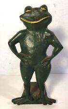 Vintage Cast Iron Bullfrog Frog Doorstop Wedge Type