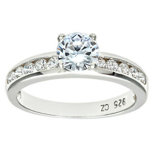 Sterling Silver Engagement Women Ring Solitaire Set Cubic Zirconia by Elegano