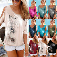 Womens Ladies Casual Blouse Tee Loose Cold Shoulder Holiday Summer T shirt Tops